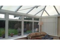 White UPVC Concervatory with two double patio doors