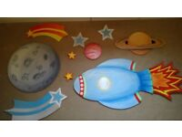 Moon, Rocket, Planets & Stars - Wall Art, Decoration