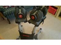 Bowflex adjustable dumb bells and stand