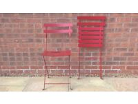 2 FOLDING METAL PATIO CHAIRS - RED