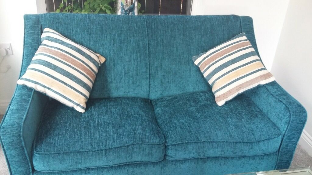 Immaculate teal chenille DFS sofabed