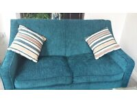 As new teal chenille DFS sofabed