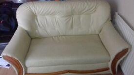 Cream Faux Leather Sofa Settee Suite 2 + 1