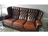 VINTAGE CHESTERFIELD LEATHER 3 SEATER SOFA/SETTEE BUTTON HIGH BACK BROWN