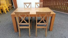 Dining Table 150cm & 4 Cross back Chairs FREE DELIVERY (03450)