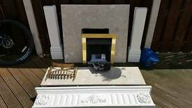 Marble fire place with gas fire