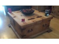 Solid wood chest coffee table, with large inside storage.