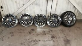 Wolf race 17inch alloy wheels MINT CHROME 205/40/17 ford/mazda/vauxhall/peugeot
