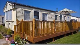 MODERN 3 BEDROOM CARAVAN TO RENT/HIRE CHAPEL ST LEONARDS SKEGNESS WITH DIRECT BEACH ACCESS 1ST JULY