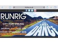 Runrig Fairwell Tour x2 + on site parking £100 ono