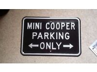 Mini Cooper Parking only metal wall sign BMW Austin Rover Morris