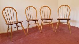 Ercol Vintage 1960s Set of 4 Windsor Kitchen Chairs