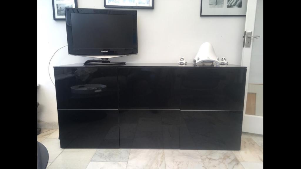 Heals Black Gloss Sideboard Unit