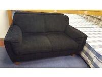Black Fabric Two Seater Sofa in Great Condition