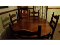 Dark-Oak Dining-Table & 4 Dining-Chairs.