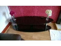 Oval TV table in black glass & chrome