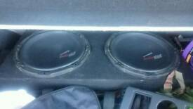 "X2 12"" audio pipe subs in box very good con perfect working order"