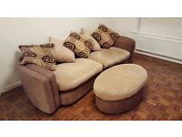Large 4 seater scatter back sofa and large footstool in chocolate/beige
