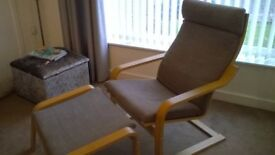 ikea armchair and stool..brown woven fabric......