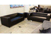 NEW Graded Black Leather 3 + 3 Seater Sofa Suite FREE Local Delivery
