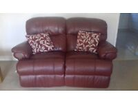 2 seat leather sofa and chair