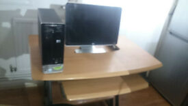 "HP Pavilion Slimline S3714UK-P and 19"" monitor + Computer desk"
