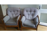 2 wooden armchairs
