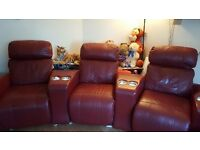 Red leather cinema suite 3 seater