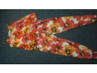 ladies orange flowery outfit size small