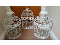 Vintage Style Shabby Chic white bird cages.
