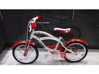"Girl's one direction cruiser bike red /white 16"" wheels ,"