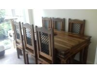Solid Oak Medieval six chair dining table