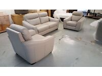 BRAND NEW FURNITURE VILLAGE CRESSIDA SILVER GREY LEATHER 3 SEATER SOFA AND 2x ARMCHAIRS. Can Deliver