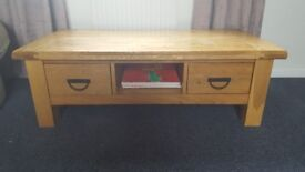 Solid wood table with side draws