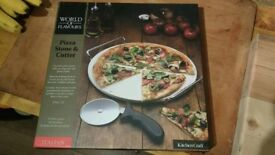 Pizza stone slab and cutter set new unused
