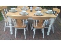 Rustic pine farmhouse table and 6 chairs in a shabby chic style