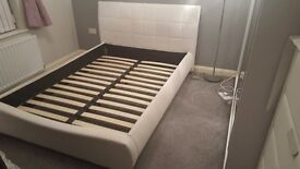 Beautiful white leather upholstered double bed frame