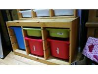 IKEA trofast kids wooden storage with boxes