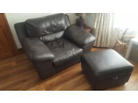 **REDUCED**Dark brown leather sofa armchair and storage footstool