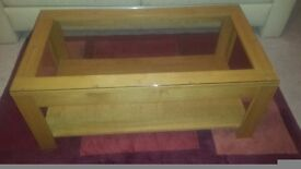 Oak table glass on top for sale