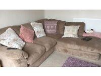 Harvey's mink cord corner sofa