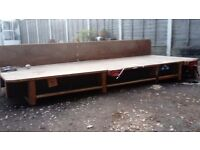 Well made woodworking bench with vices and electrical fittings 8ft 5 x3ft
