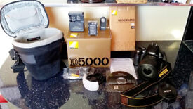 NIKON D5000 Camera + Giottos HD 124 Tripod + NIKKOR Lens + Case + Ample Set of Accessories Boxed
