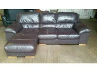 Brown Leather Small Corner Sofa