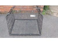 Dog car crate.