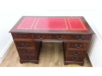 Leather Inlaid Captains Desk