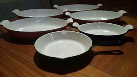 Casserole dishes and pan