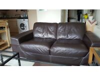3 &2 seat leather brown sofas