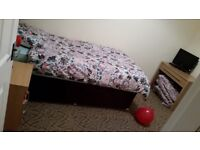 New great quality single bed & mattress. Inc new quilt pillow cover curtains etc