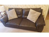 Dark Brown Leather 3 Seater sofa with cuddle chair and footstool - DFS